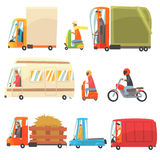 Public And Personal Transport Toy Cars And Trucks Collection Of Childish Colorful Transportation Vehicles Stock Image
