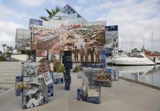 Public art mosaic shows Coronado s Tent City history at Glorietta Bay Marina. Stock Image