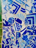 Public Art: Mosaic. Travel Destination, Barcelona, Spain: Detail of Antonio Gaudi's mosaic art in public art landmark, Park Guell Stock Images
