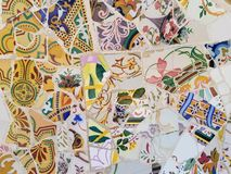 Public Art: Mosaic. Travel Destination, Barcelona, Spain: Detail of Antonio Gaudi's mosaic art in public art landmark, Park Guell Royalty Free Stock Images