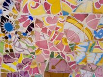Public Art: Mosaic. Travel Destination, Barcelona, Spain: Detail of Antonio Gaudi's mosaic art in public art landmark, Park Guell Stock Photography