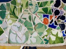 Public Art: Mosaic. Travel Destination, Barcelona, Spain: Detail of Antonio Gaudi's mosaic art in public art landmark, Park Guell Stock Image
