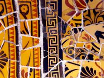 Public Art: Mosaic. Travel Destination, Barcelona, Spain: Detail of Antonio Gaudi's mosaic art in public art landmark, Park Guell Royalty Free Stock Photos