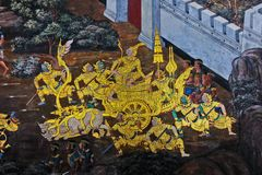 Public Art Painting at Wat Phra Kaew Stock Image
