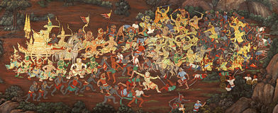 Public Art Painting at Wat Phra Kaew, Thailand Royalty Free Stock Image