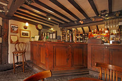Public Bar. An old fashioned English public bar where often the finest real ale in the world can be consumed Stock Photo