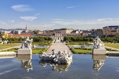 Public Baroque park of Belvedere Palace Vienna at a sunny day Royalty Free Stock Photo