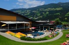 Austria: Therme Hochfuegen, Public bath Zillertal valley, Tirol. The public bath in the Zillertaler Village Hochfuegen attracts locals and tourists royalty free stock images