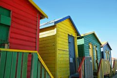 Public bathrooms of Saint James beach in Muizenberg Stock Photos
