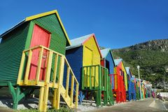 Public bathrooms of Saint James beach in Muizenberg Stock Photo