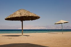 Public beach in Aqaba - Jordan. Public beach by the Red sea - Aqaba - Jordan royalty free stock photo