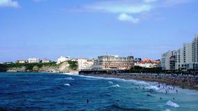 Public beach in Biarritz Stock Images
