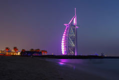 Public beach in Dubai at night Royalty Free Stock Image