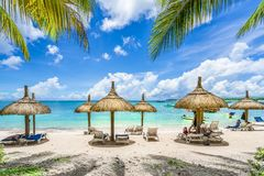 Public beach with lounge chairs and umbrellas, Mauritius island, Africa stock images