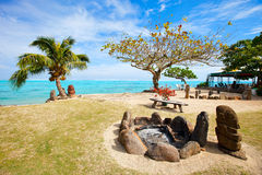 Public beach on Moorea island Stock Images