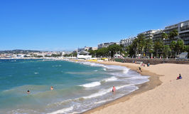 Public beach in the Promenade de la Croisette in Cannes, France Royalty Free Stock Photo