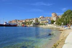 Public beach in Saranda, Albania Royalty Free Stock Photo