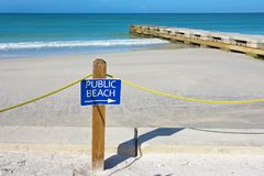 Public Beach Sign Stock Photo