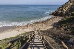 Public Beach Stairs at Dume Cove in Malibu. California Stock Photos