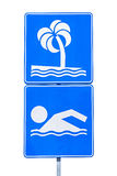 Public beach swimming sign royalty free stock images