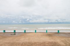 The public bench made with concrete at Muang Ngam Beach, Songkhla Province, Thailand.  Stock Images