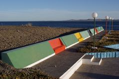 Public benches in Patagonia Royalty Free Stock Photo