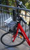 Public bicycle detail of front part and a basket. Sydney`s Reddy Go bike-sharing service offers bicycles for rent. Royalty Free Stock Image