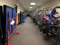 Public bicycle library for each household in the residential building royalty free stock images