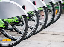 Public bicycle line up Royalty Free Stock Photo