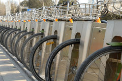 Public bicycle parking station Stock Photo