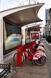 Public Bicycle Rental Station in China Royalty Free Stock Photos