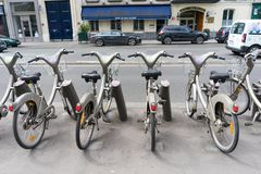 Public bicycle rental Stock Photos