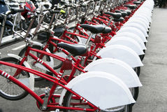 Public Bicycles. In row in Barcelona city - Spain Royalty Free Stock Photography