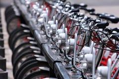 Public bicycles stock image