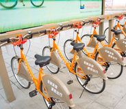 public bicycles Stock Image
