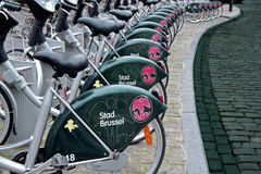 Public Bicycles. Bicycles is ecological and interesting way of transportation in Brussel Stock Images