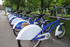 Public bicycles in Oslo. Public bikes in central Oslo, Norway. The public bike system is a service in which bicycles are made available for shared use to Stock Photos