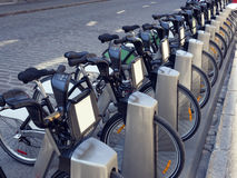 Public Bicycles for rent at a docking station Royalty Free Stock Photography