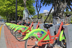 Public bicycles transportation station Royalty Free Stock Images