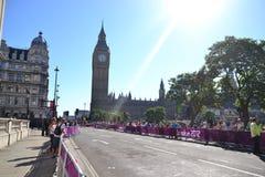 Public in Big Ben awaiting, paralympic athlets. Public awaiting for the athlets of the Paralympic marathon at Big Ben, London 2012 games Stock Image