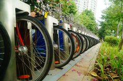 Public bike rental facilities and display of bicycle close-ups. In shenzhen, China Royalty Free Stock Photo