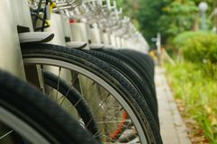 Public bike rental facilities and display of bicycle close-ups. In shenzhen, China Stock Photos