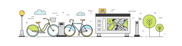 Public bike sharing area with bicycles available for rent parked at docking stations on city street, payment terminals stock illustration