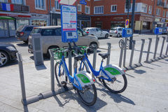 Public bikes in Calais Royalty Free Stock Photo
