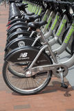 Public bikes at MIT university campus Stock Photo