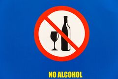 Sign NO ALCOHOL Public Illustration Drawing. Public board notice sign NO ALCOHOL yellow words illustration drawing logo symbols closeup royalty free illustration