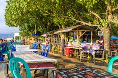 Public boardwalk in Mataram. Lombok, Indonesia with many local restaurants and other venues Royalty Free Stock Photos