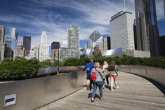 Public BP walkway in Millenium park Chicaco Royalty Free Stock Image