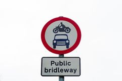 Public bridleway red and white sign post Royalty Free Stock Photography
