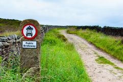 Public bridleway red and white sign post Royalty Free Stock Photos
